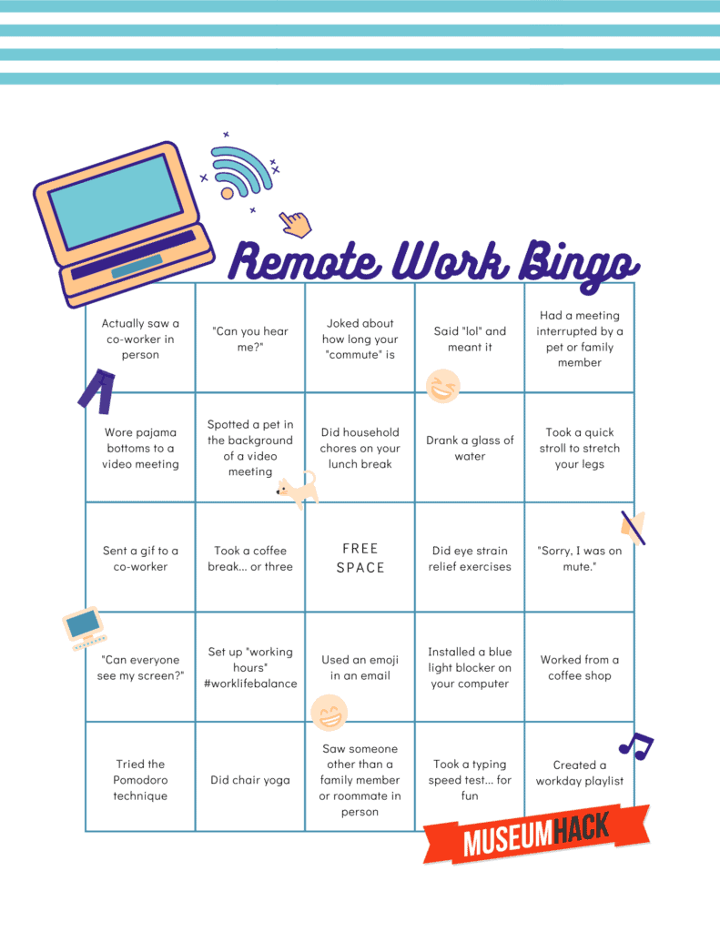 Year End Party Themes: online team building bingo